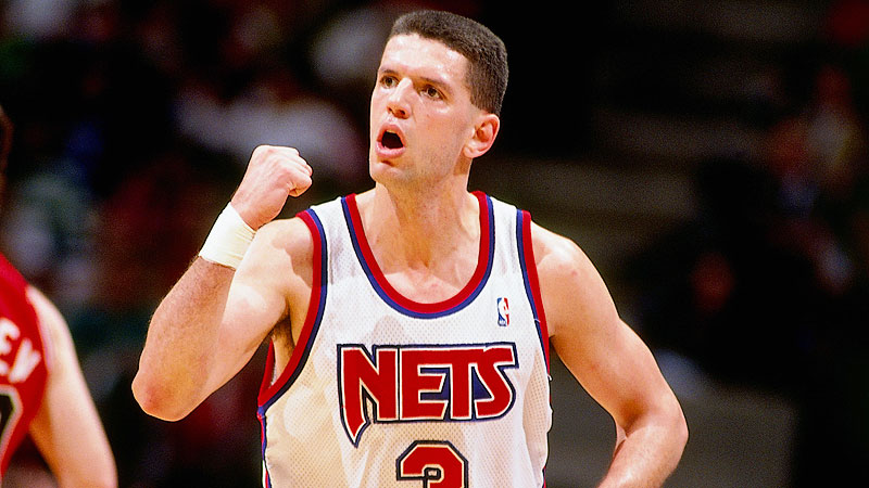 fb667b9f0cd EAST RUTHERFORD, NJ – 1991: Drazen Petrovic #3 of the New Jersey Nets pumps  his fist against Bobby Hansen #10 of the Chicago Bulls during a game in  1991 at ...