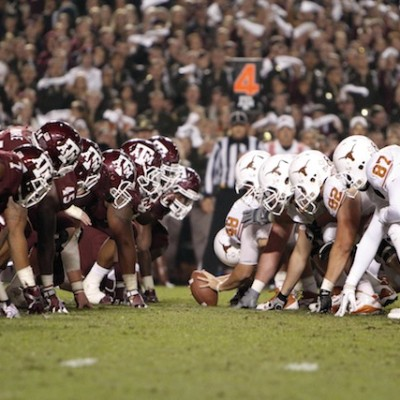 Nov 24, 2011; College Station, TX, USA; General view of the line of scrimmage during a game between the Texas A&M Aggies and Texas Longhorns in the third quarter at Kyle Field. Mandatory Credit: Brett Davis-USA TODAY Sports