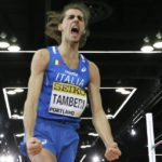 Italy's Gianmarco Tamberi reacts after he won the men's high jump final during the World Indoor Athletics Championships, Saturday, March 19, 2016, in Portland, Ore. Tamberi won the event. (ANSA/AP Photo/Elaine Thompson)