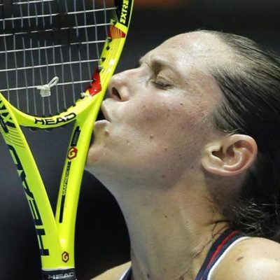 Roberta Vinci of Italy reacts during the St. Petersburg Ladies Trophy-2016 tennis tournament final match against Belinda Bencic of Switzerland in St.Petersburg, Russia, Sunday, Feb. 14, 2016. (ANSA/AP Photo/Dmitri Lovetsky)