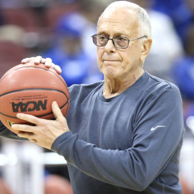 SMU coach Larry Brown watches his team during practice at the NCAA college basketball tournament in Louisville, Ky., Wednesday, March 18, 2015. SMU plays UCLA in the second round on Thursday. (AP Photo/David Stephenson)
