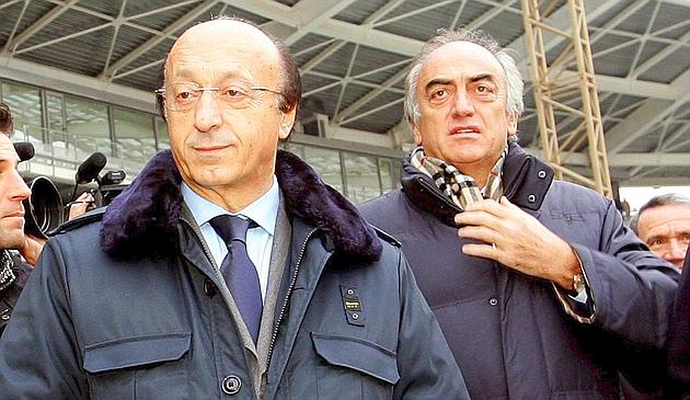 epa02781526 (FILE) A file picture dated 26 October 2005 shows then general manager of Italian Serie A side Juventus FC, Luciano Moggi (L) and the club's managing director Antonio Giraudo (R) in Turin, Italy. The disciplinary commission of the Italian football federation (FIGC) late 15 June 2011 banned for life three key figures in a scandal that rocked the Serie A in 2006. Juventus ex managers Luciano Moggi and Antonio Giraudo were then found guilty of intimidating referees and their selectors during two Serie A seasons. They were suspended for five years, along with Innocenzo Mazzini, then vice president of FIGC, pending a life ban that has now been handed down.  EPA/LUCA ZENNARO